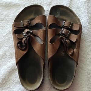 Birkenstock 3 straps brown sandals